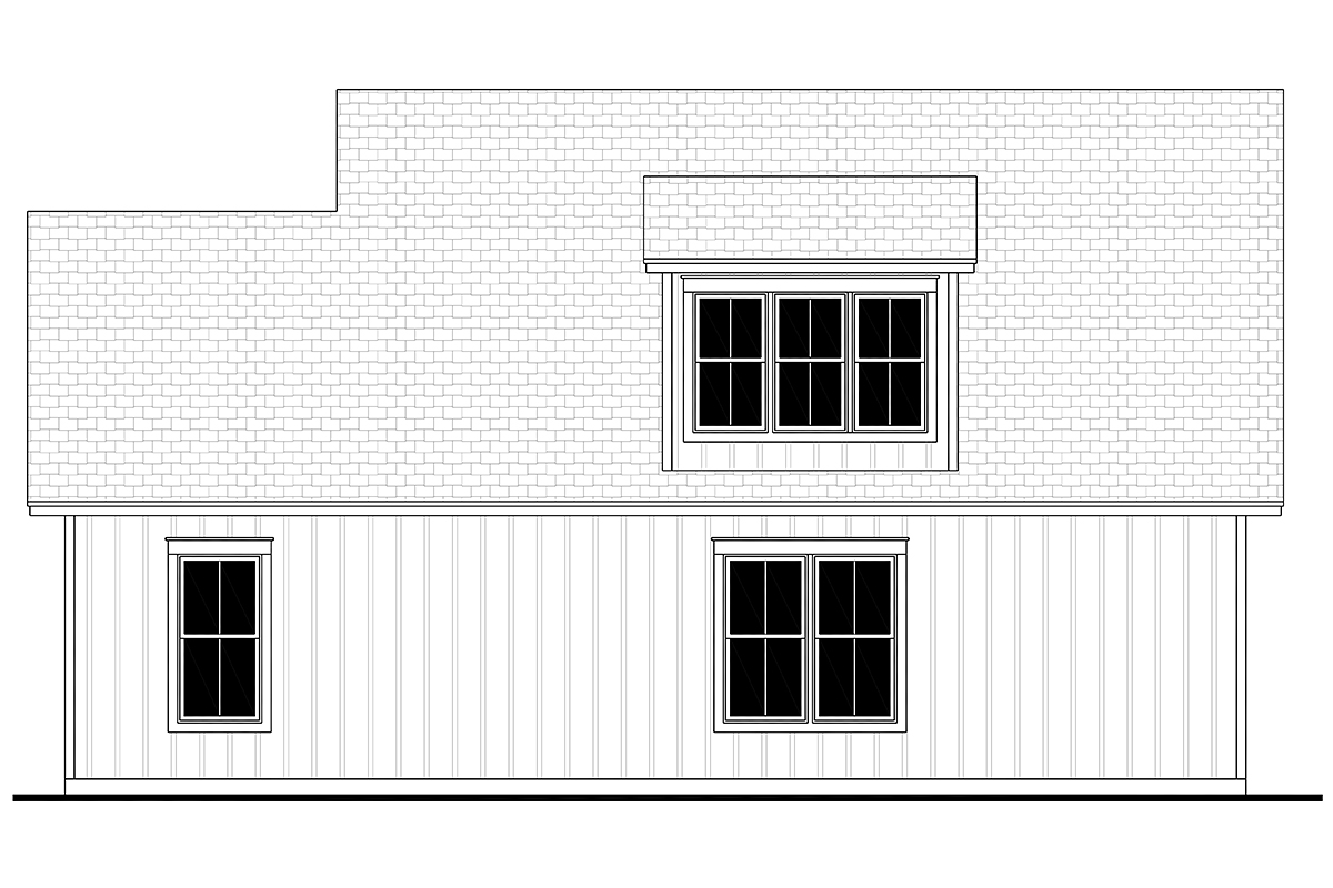 Cottage, Country, Craftsman, Farmhouse 3 Car Garage Apartment Plan 80808 Rear Elevation