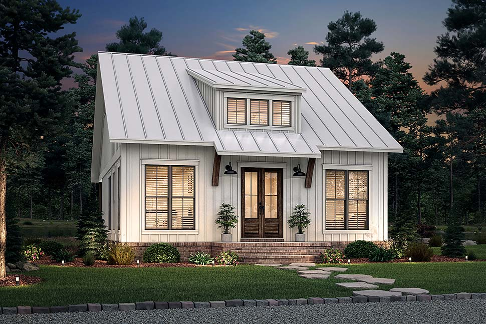 Cottage, Farmhouse, French Country, Southern House Plan 80810 with 2 Beds, 1 Baths Picture 4