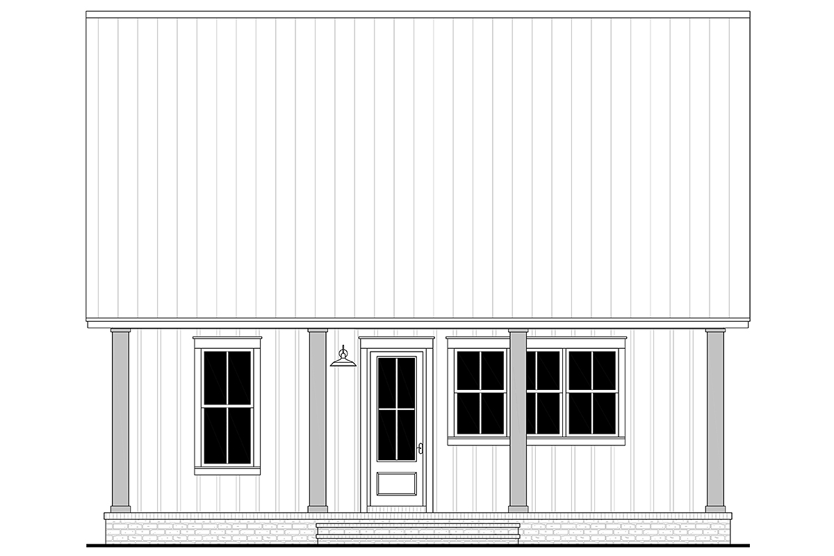 Cottage, Farmhouse, French Country, Southern House Plan 80810 with 2 Beds, 1 Baths Rear Elevation