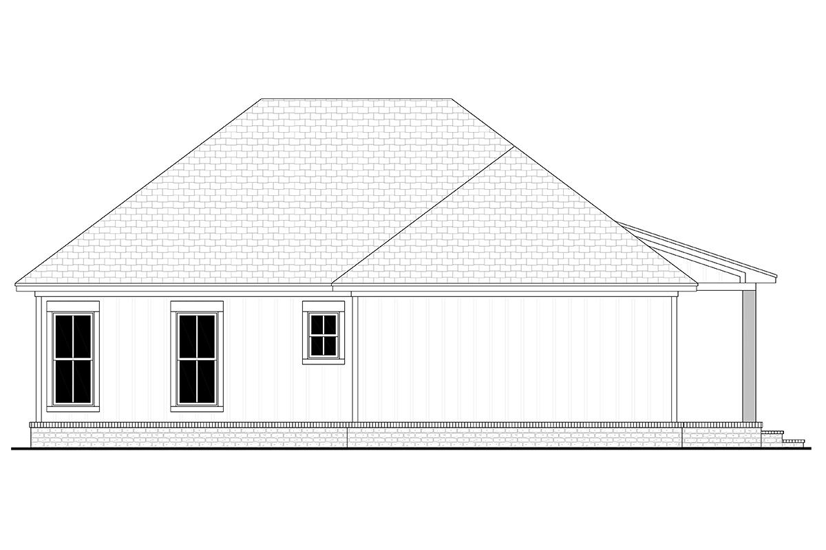 Cottage, Country, Farmhouse House Plan 80811 with 2 Beds, 2 Baths, 2 Car Garage Rear Elevation