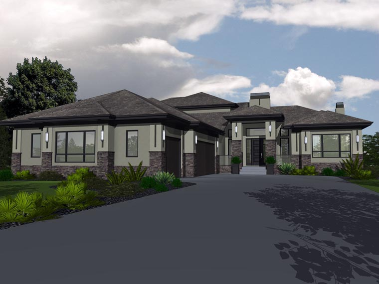 Bungalow House Plan 81143 with 5 Beds, 3 Baths, 3 Car Garage Elevation