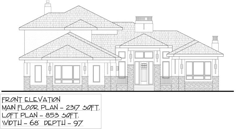 Bungalow House Plan 81143 with 5 Beds, 3 Baths, 3 Car Garage Picture 1