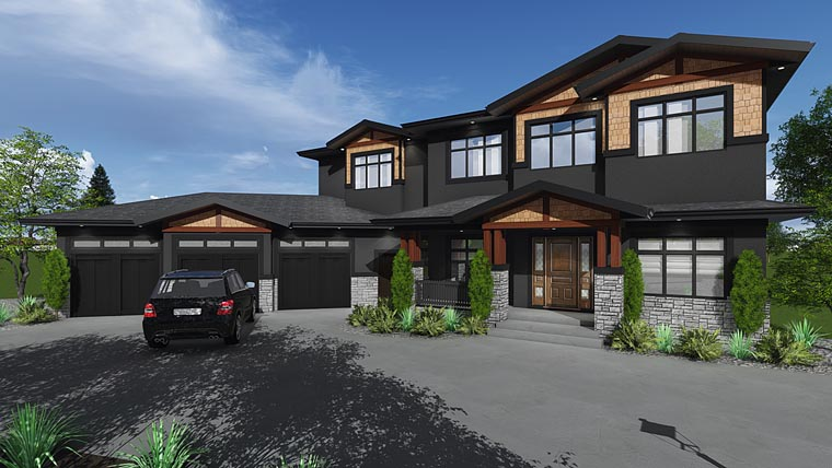 Contemporary, Craftsman, Traditional House Plan 81182 with 6 Beds, 5 Baths, 3 Car Garage Elevation