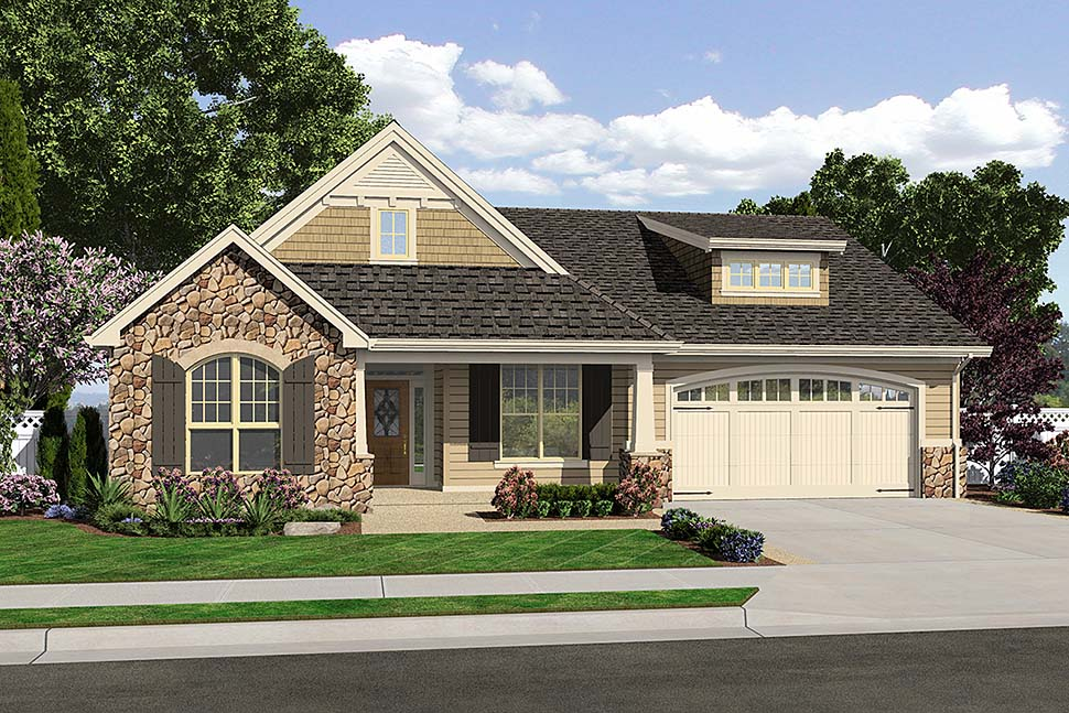 Cottage, Craftsman, French Country, Traditional House Plan 81202 with 3 Beds, 3 Baths, 2 Car Garage Front Elevation
