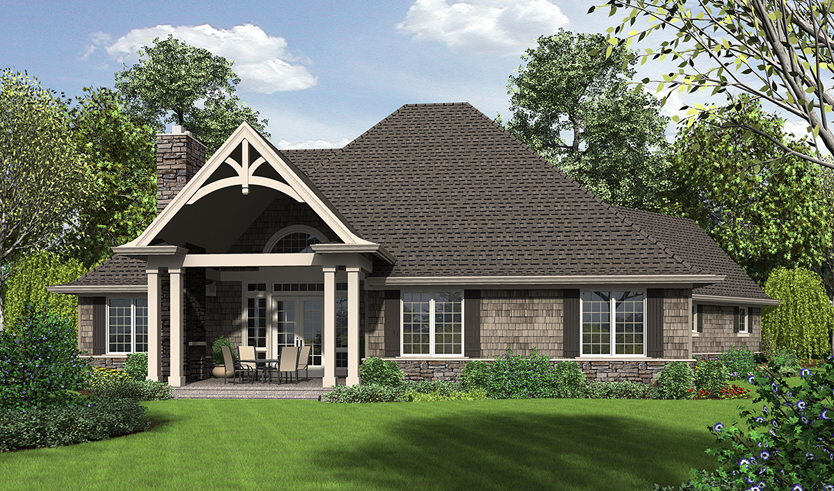 Country, Craftsman House Plan 81204 with 3 Beds, 3 Baths, 2 Car Garage Rear Elevation