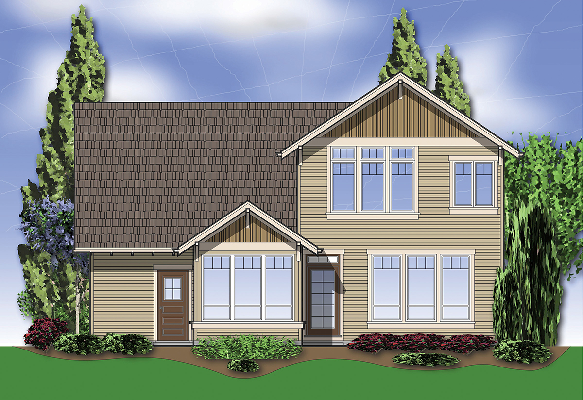 Craftsman, Traditional House Plan 81216 with 3 Beds, 3 Baths, 3 Car Garage Rear Elevation