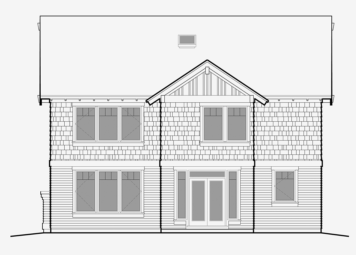Bungalow, Craftsman, Traditional House Plan 81219 with 4 Beds, 3 Baths, 3 Car Garage Rear Elevation