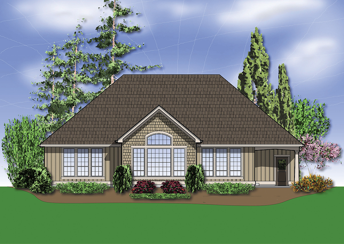 Bungalow, Craftsman House Plan 81227 with 3 Beds, 2 Baths, 3 Car Garage Rear Elevation