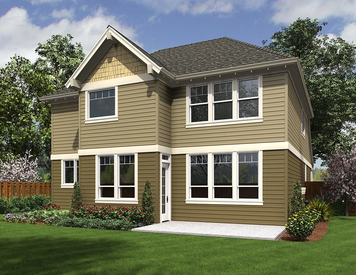 Cottage, Craftsman House Plan 81228 with 4 Beds, 3 Baths, 2 Car Garage Rear Elevation
