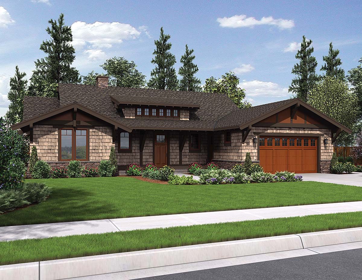 Bungalow, Craftsman House Plan 81229 with 3 Beds, 3 Baths, 2 Car Garage Front Elevation