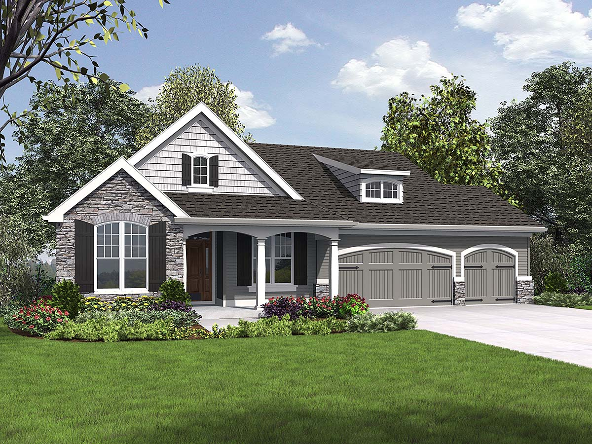 Craftsman, Ranch House Plan 81230 with 5 Beds, 3 Baths, 3 Car Garage Front Elevation