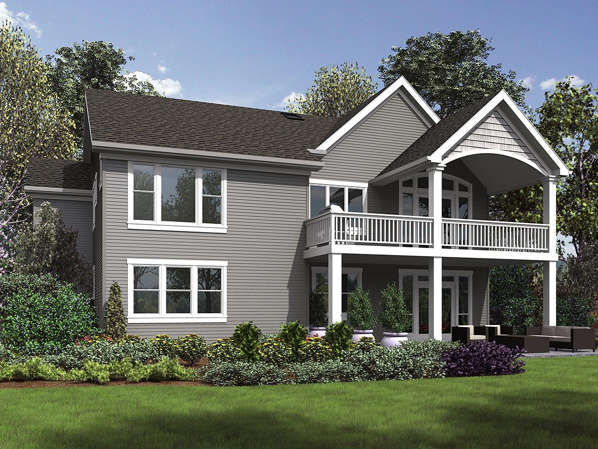 Craftsman, Ranch House Plan 81230 with 5 Beds, 3 Baths, 3 Car Garage Rear Elevation