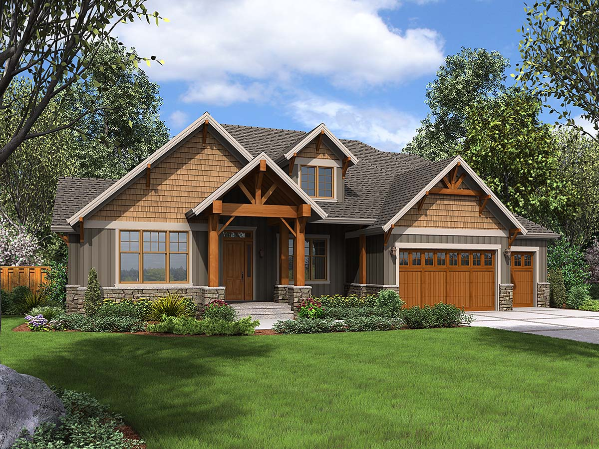 Craftsman House Plan 81231 with 4 Beds, 4 Baths, 3 Car Garage Elevation