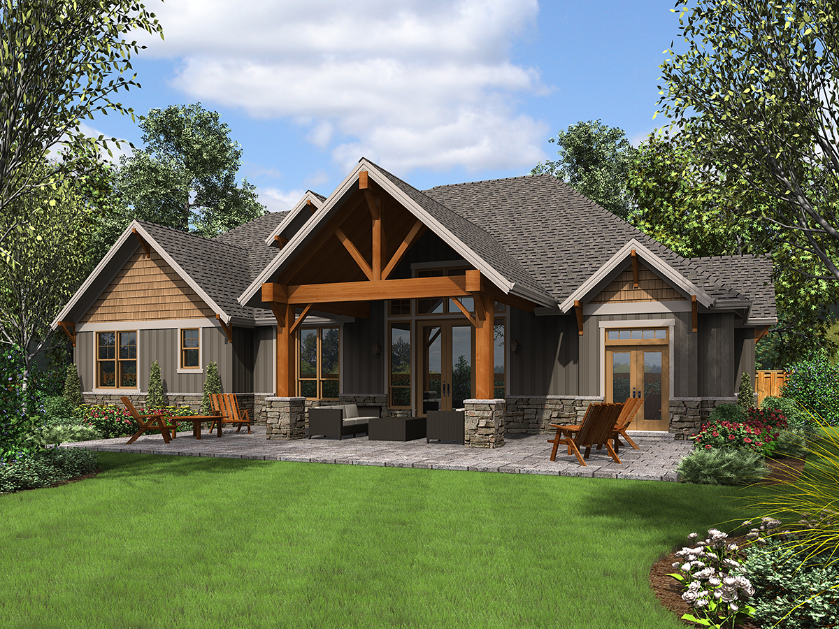 Craftsman House Plan 81231 with 4 Beds, 4 Baths, 3 Car Garage Rear Elevation