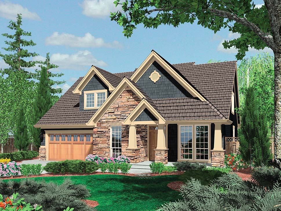 Bungalow, Craftsman House Plan 81232 with 3 Beds, 3 Baths, 2 Car Garage Picture 3
