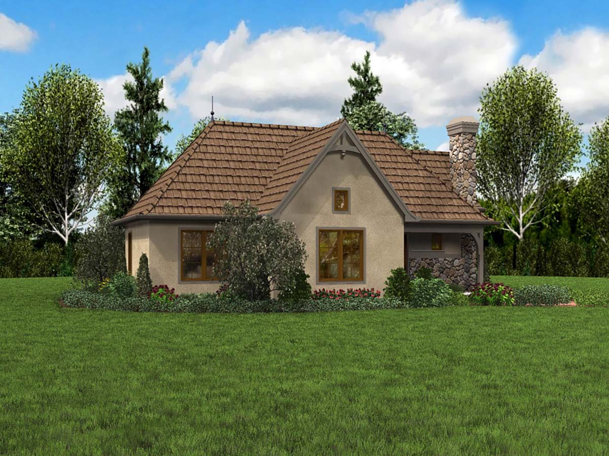 Cottage, French Country, Tudor House Plan 81234 with 2 Beds, 1 Baths Picture 2