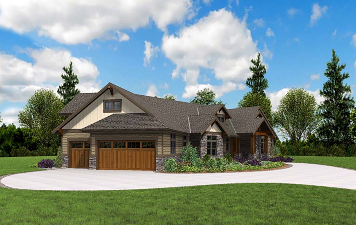Craftsman House Plan 81238 with 3 Beds, 3 Baths, 3 Car Garage Picture 2