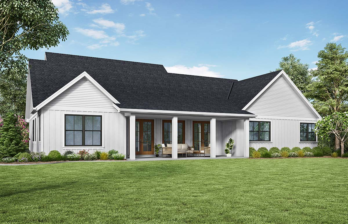 Contemporary, Country, Farmhouse, Southern House Plan 81240 with 3 Beds, 3 Baths, 2 Car Garage Rear Elevation