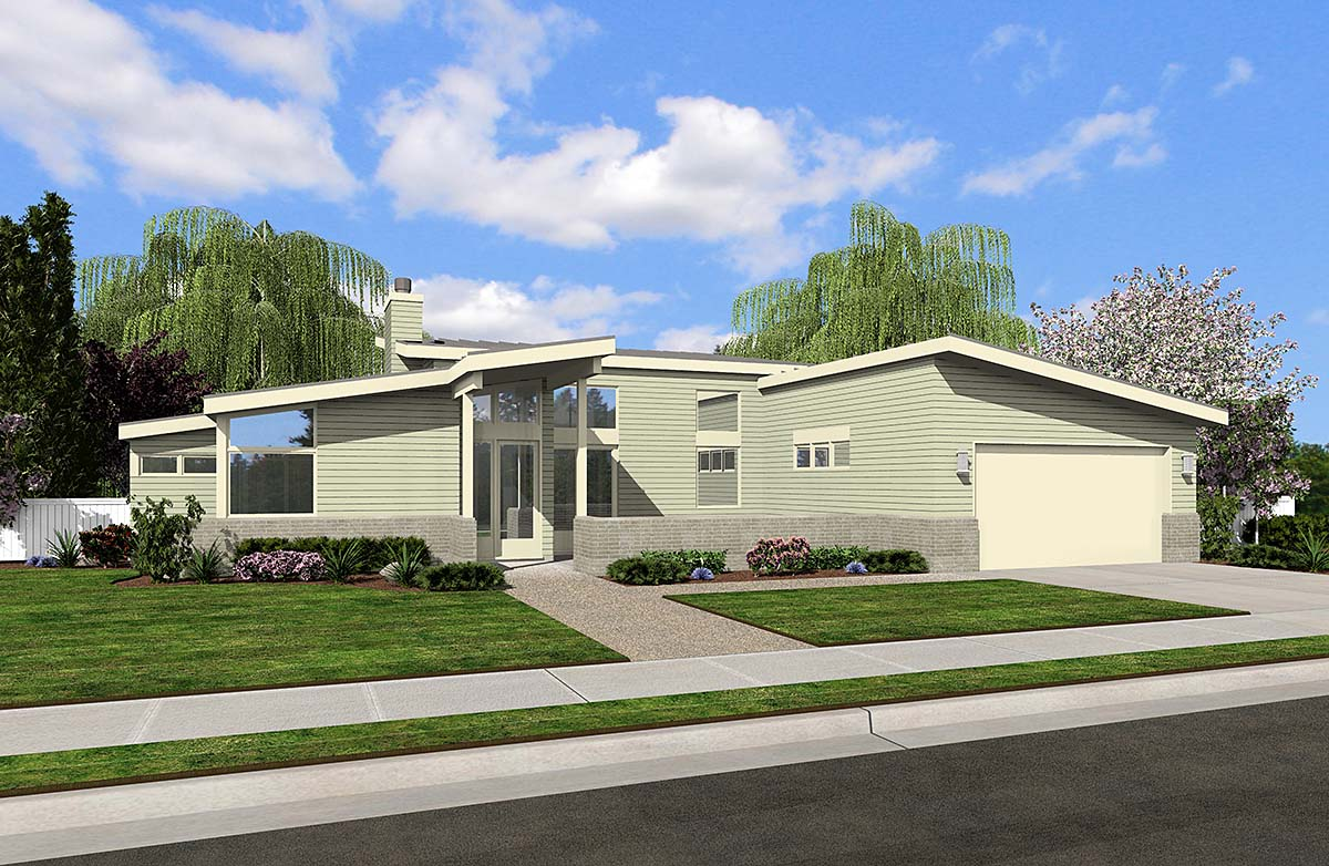 Contemporary, Farmhouse, Prairie House Plan 81250 with 2 Beds, 2 Baths, 2 Car Garage Front Elevation