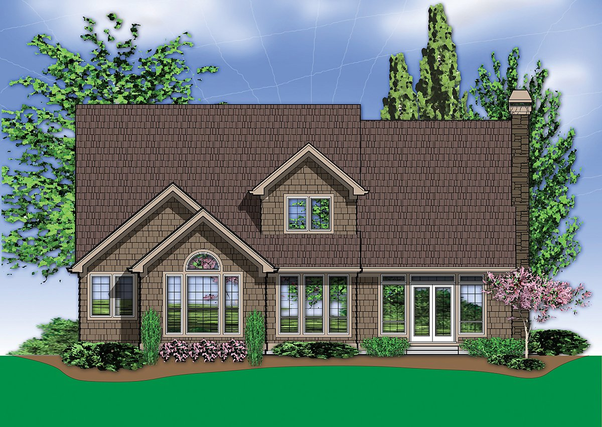 Craftsman, European, French Country, Traditional House Plan 81255 with 4 Beds, 3 Baths, 3 Car Garage Rear Elevation