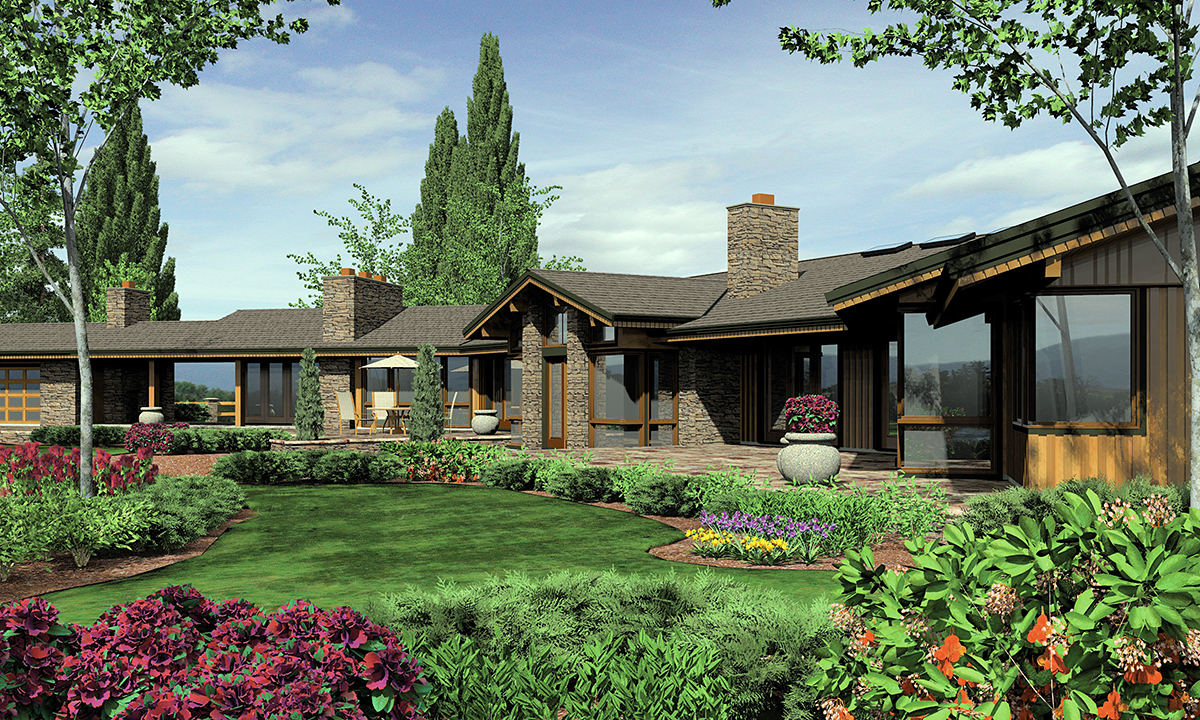 Contemporary, Craftsman, Farmhouse House Plan 81261 with 5 Beds, 6 Baths, 3 Car Garage Rear Elevation