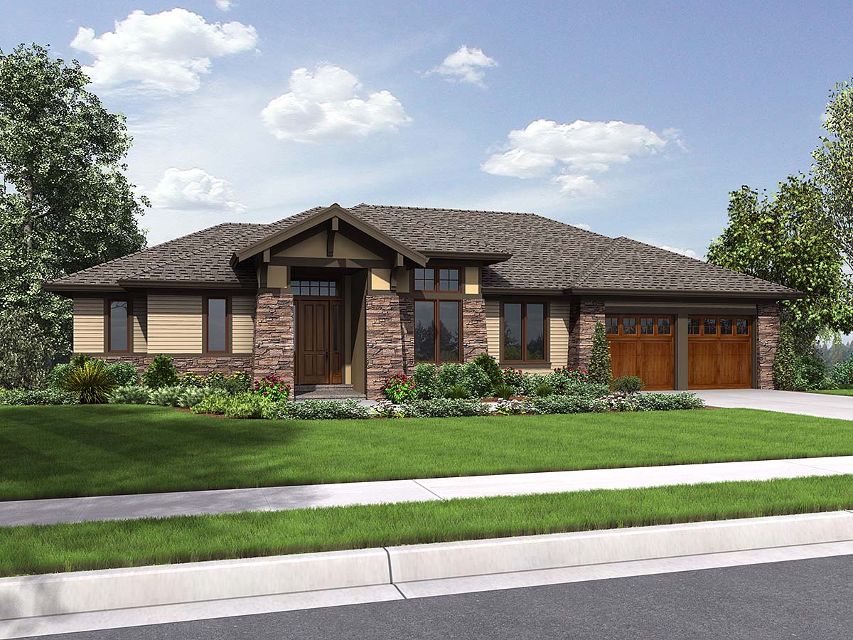 Contemporary, Modern, Prairie, Ranch House Plan 81262 with 3 Beds, 4 Baths, 2 Car Garage Elevation