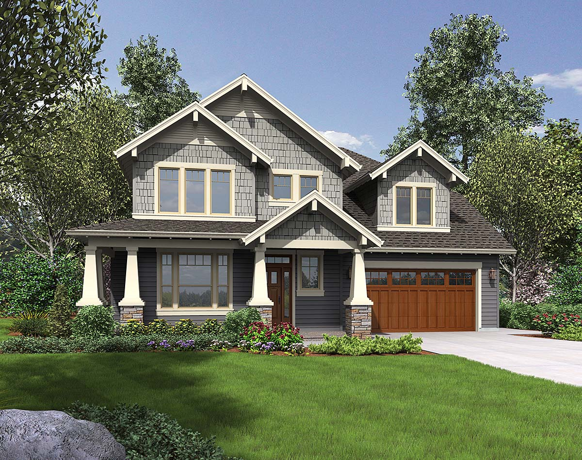 Craftsman House Plan 81265 with 3 Beds, 3 Baths, 2 Car Garage Elevation