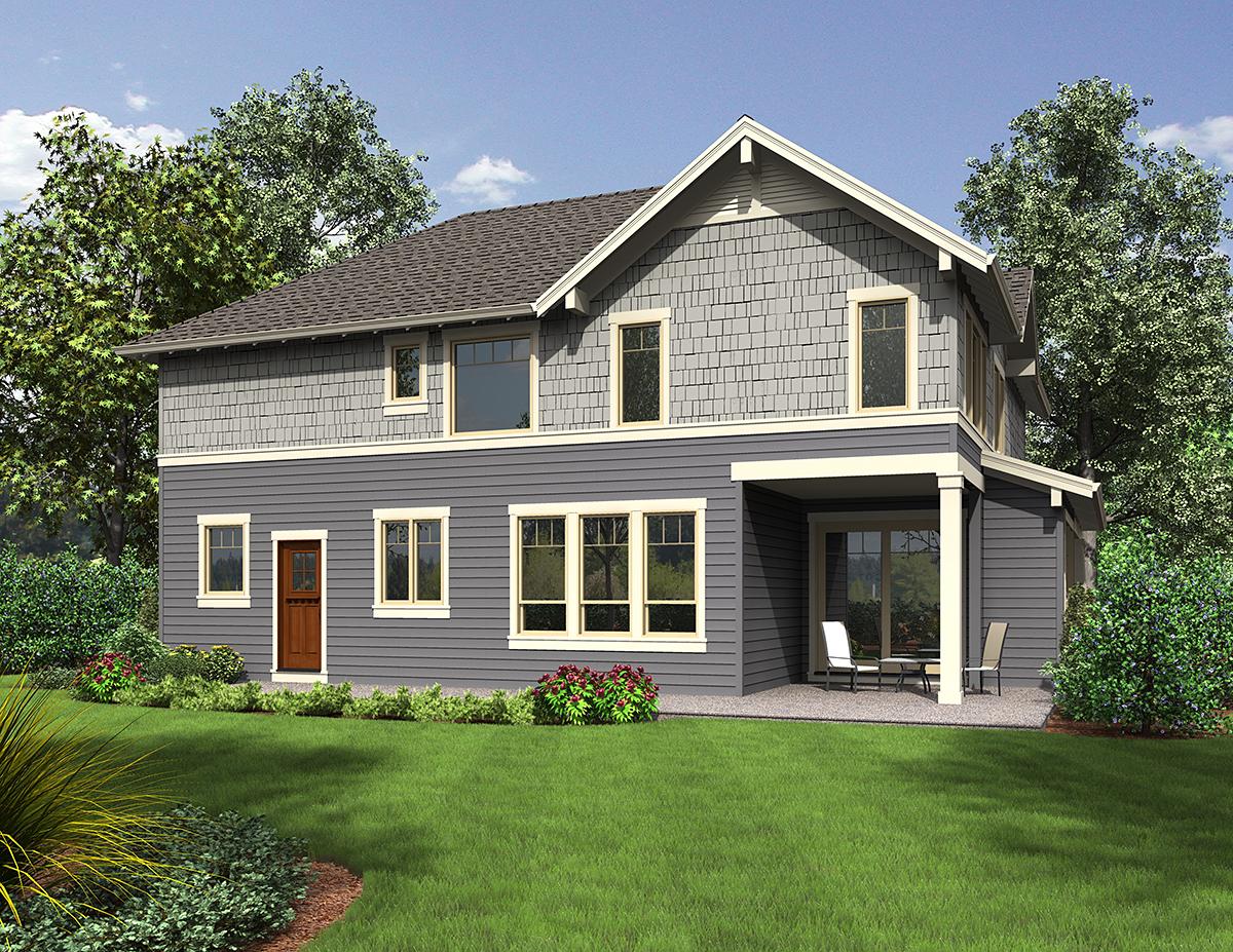 Craftsman House Plan 81265 with 3 Beds, 3 Baths, 2 Car Garage Rear Elevation