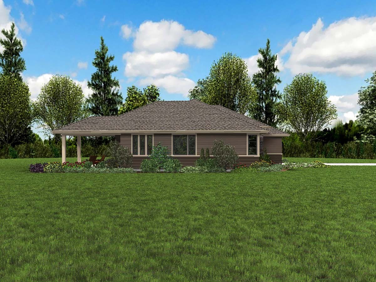 Contemporary, Prairie, Ranch House Plan 81266 with 3 Beds, 2 Baths, 2 Car Garage Picture 2