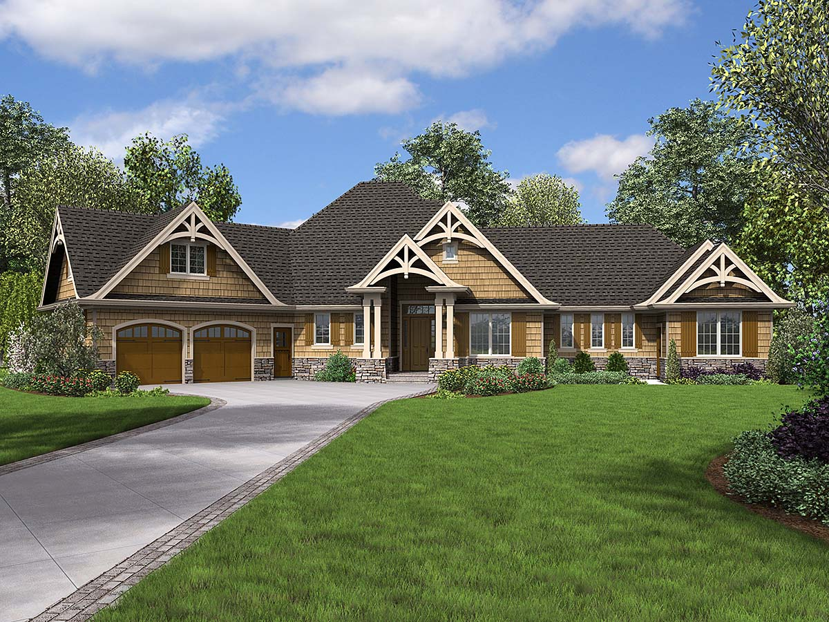 Bungalow, Craftsman, Tuscan House Plan 81272 with 4 Beds, 4 Baths, 2 Car Garage Front Elevation
