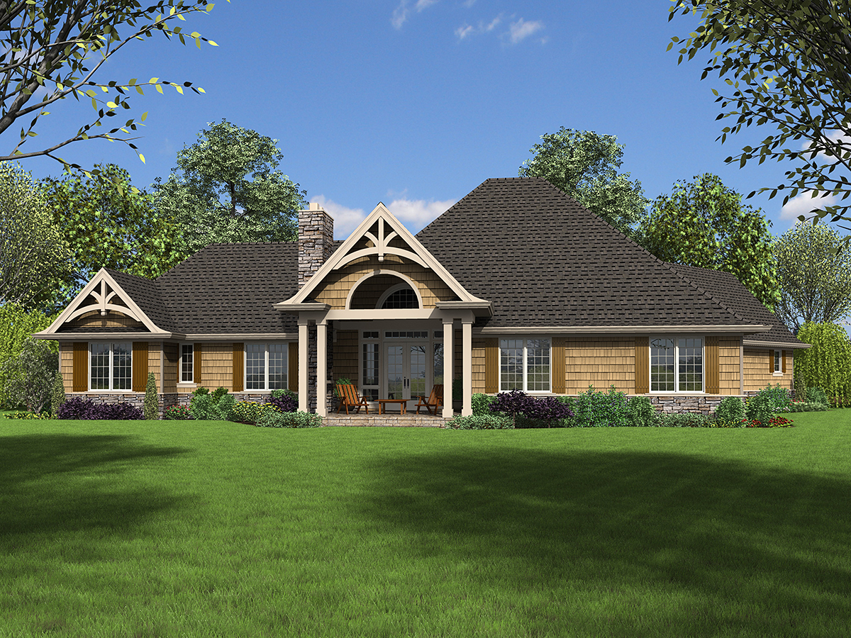 Bungalow, Craftsman, Tuscan House Plan 81272 with 4 Beds, 4 Baths, 2 Car Garage Rear Elevation