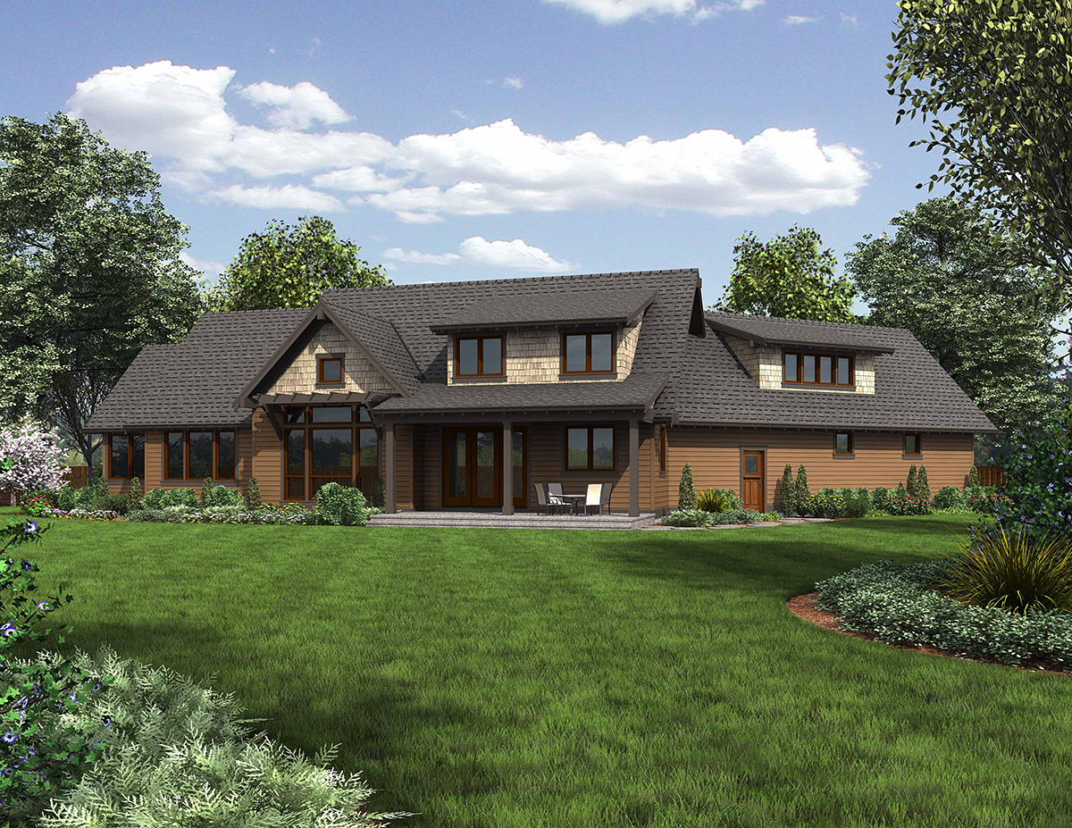 Bungalow, Craftsman, Ranch, Tuscan House Plan 81275 with 3 Beds, 3 Baths, 3 Car Garage Rear Elevation