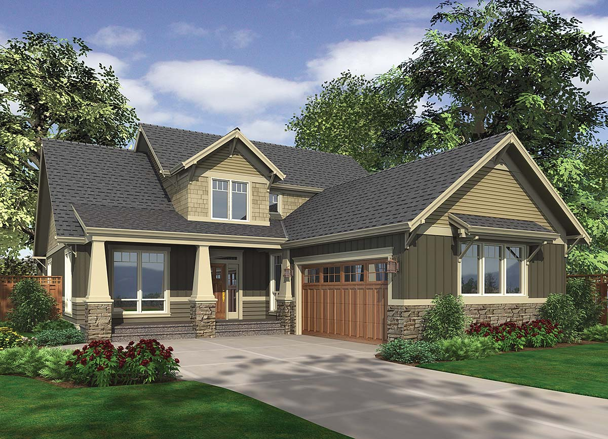 Craftsman House Plan 81277 with 3 Beds, 3 Baths, 2 Car Garage Elevation