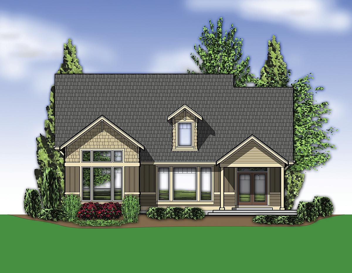 Craftsman House Plan 81277 with 3 Beds, 3 Baths, 2 Car Garage Rear Elevation