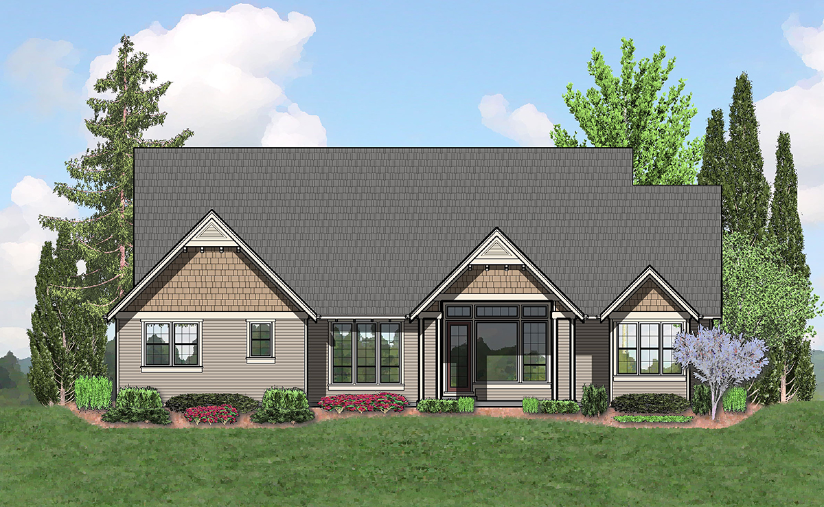 Bungalow, Craftsman, Ranch House Plan 81279 with 3 Beds, 3 Baths, 3 Car Garage Rear Elevation