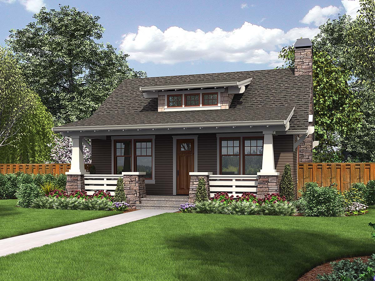 Bungalow, Cottage, Craftsman, Narrow Lot House Plan 81289 with 1 Beds, 1 Baths Elevation
