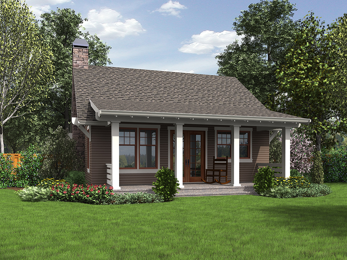 Bungalow, Cottage, Craftsman, Narrow Lot House Plan 81289 with 1 Beds, 1 Baths Rear Elevation