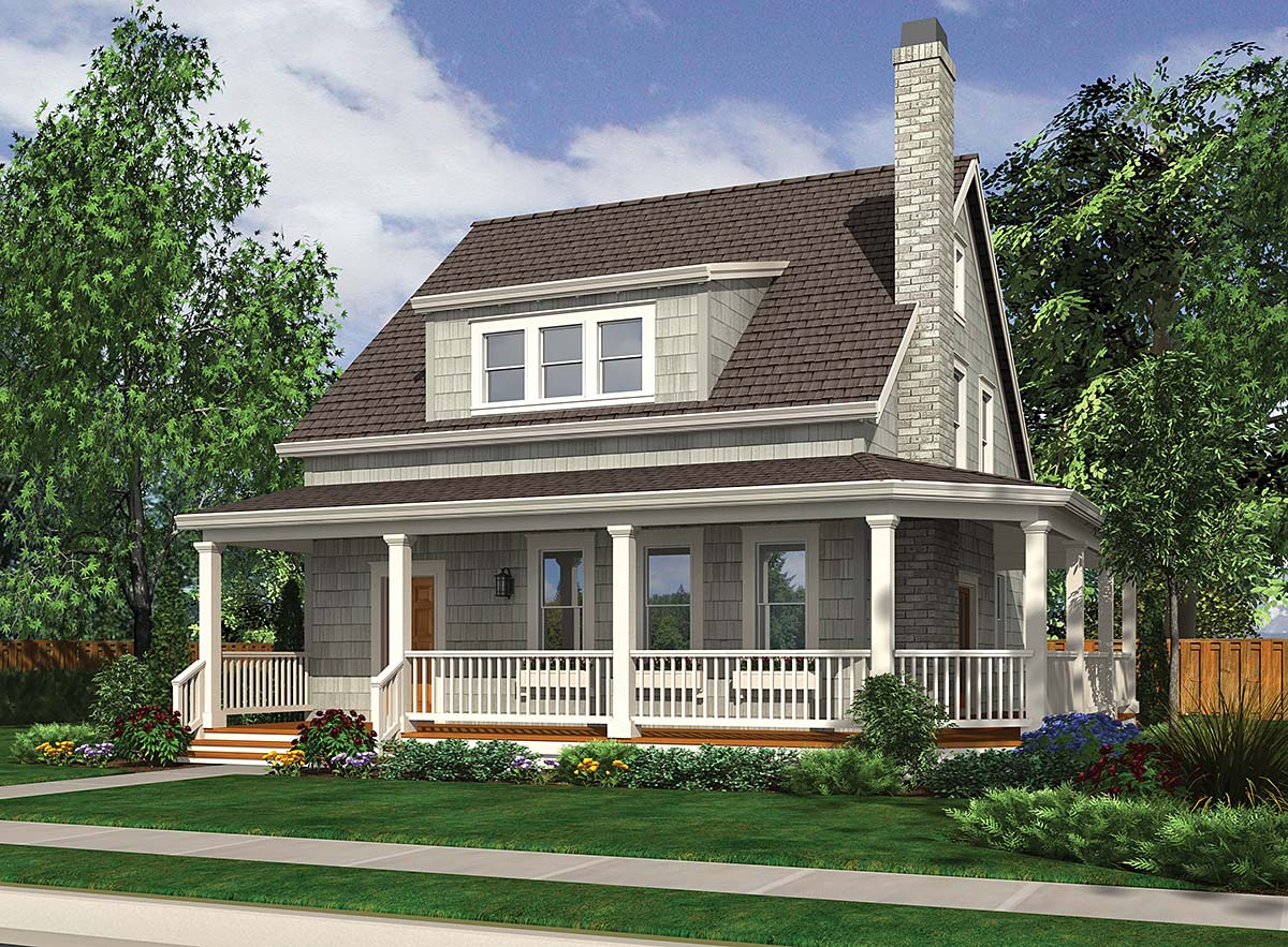 Cabin, Cottage, Country, Narrow Lot House Plan 81290 with 3 Beds, 3 Baths Front Elevation