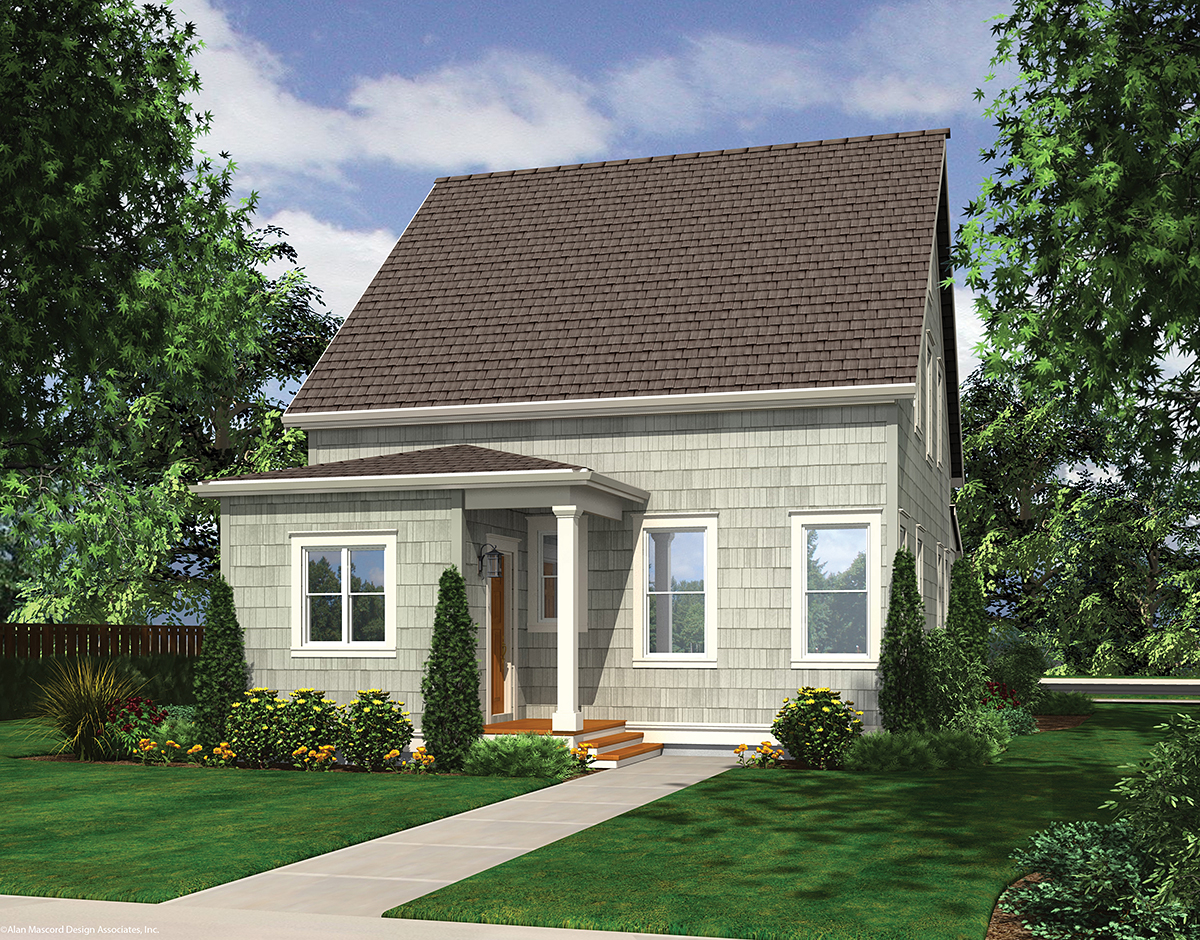 Cabin, Cottage, Country, Narrow Lot House Plan 81290 with 3 Beds, 3 Baths Rear Elevation