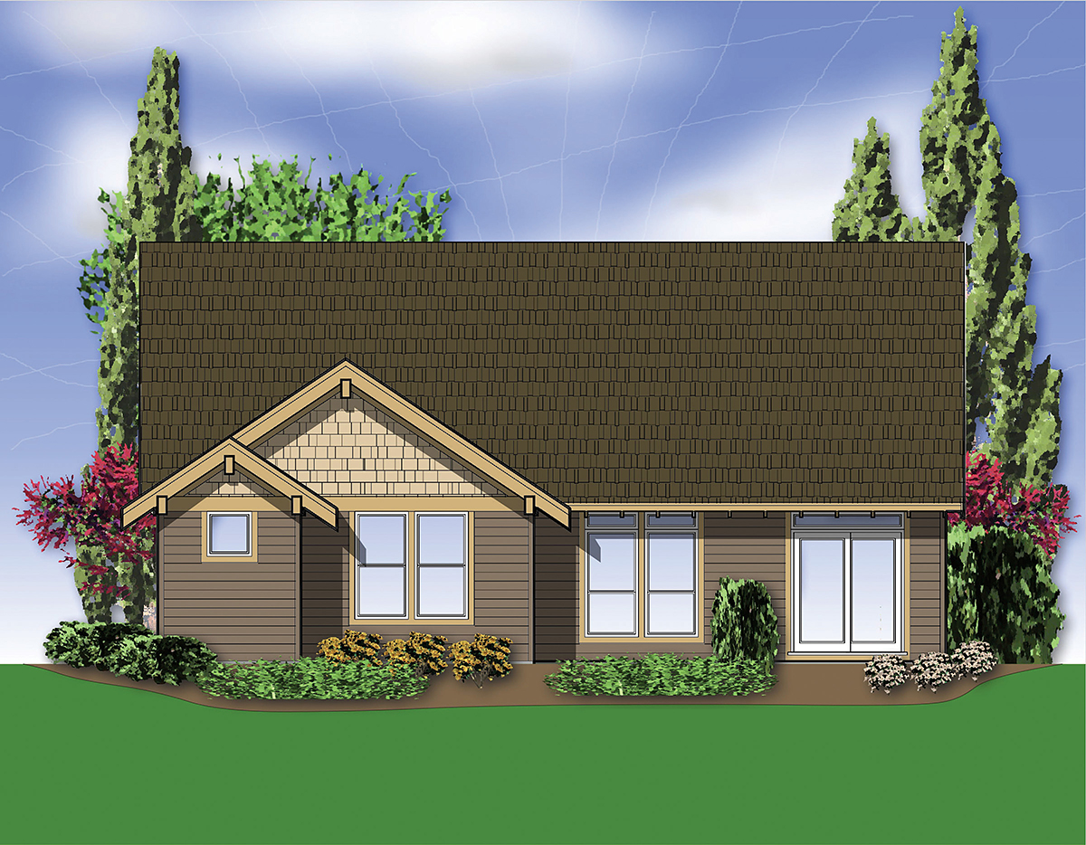 Bungalow, Craftsman, Narrow Lot House Plan 81292 with 3 Beds, 2 Baths, 2 Car Garage Rear Elevation