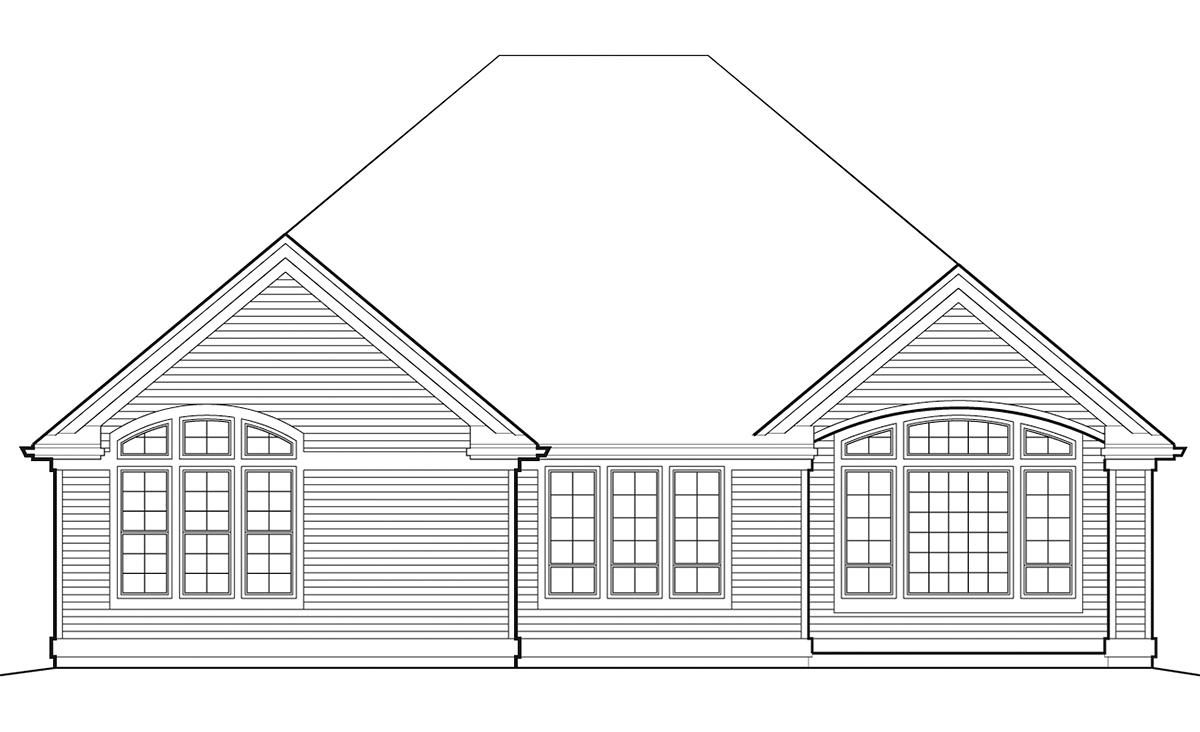 Bungalow, European House Plan 81295 with 3 Beds, 3 Baths, 2 Car Garage Rear Elevation