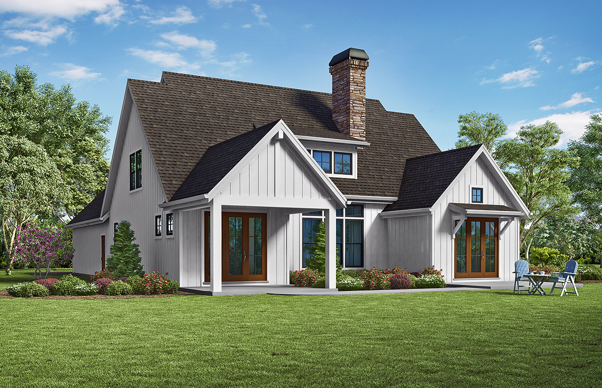 Traditional House Plan 81296 with 3 Beds, 3 Baths, 2 Car Garage Rear Elevation