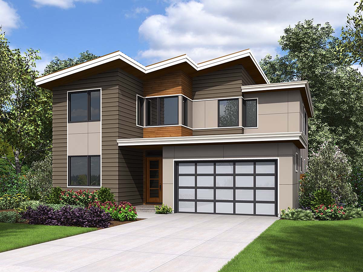 Contemporary, Modern House Plan 81297 with 4 Beds, 3 Baths, 2 Car Garage Front Elevation