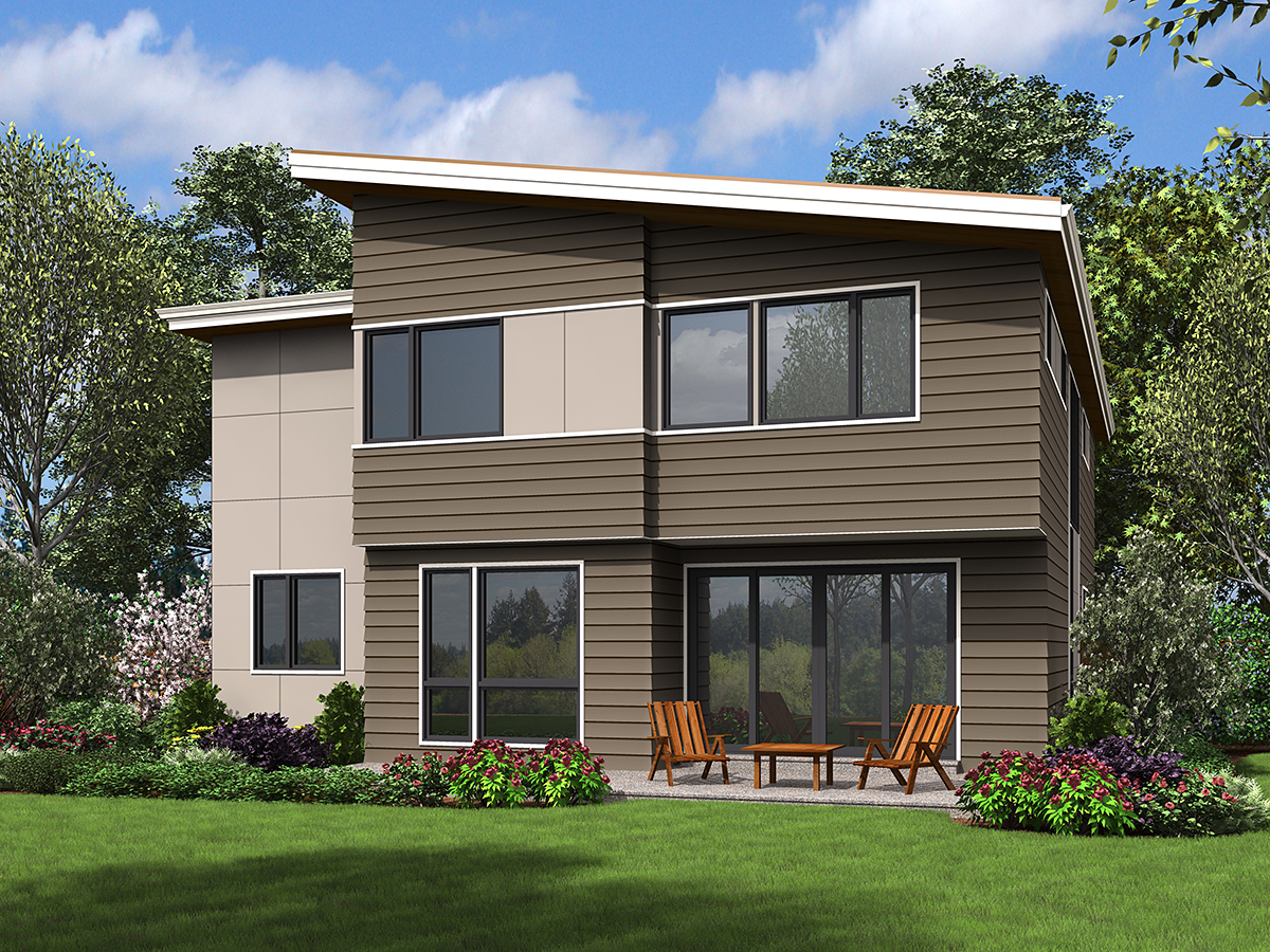 Contemporary, Modern House Plan 81297 with 4 Beds, 3 Baths, 2 Car Garage Rear Elevation