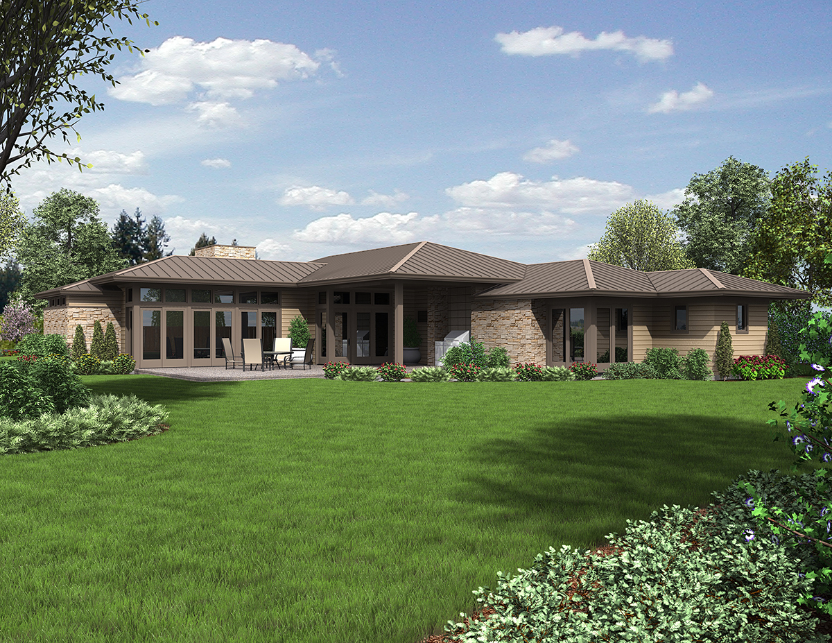 Contemporary, Modern, Prairie House Plan 81298 with 3 Beds, 3 Baths, 2 Car Garage Rear Elevation