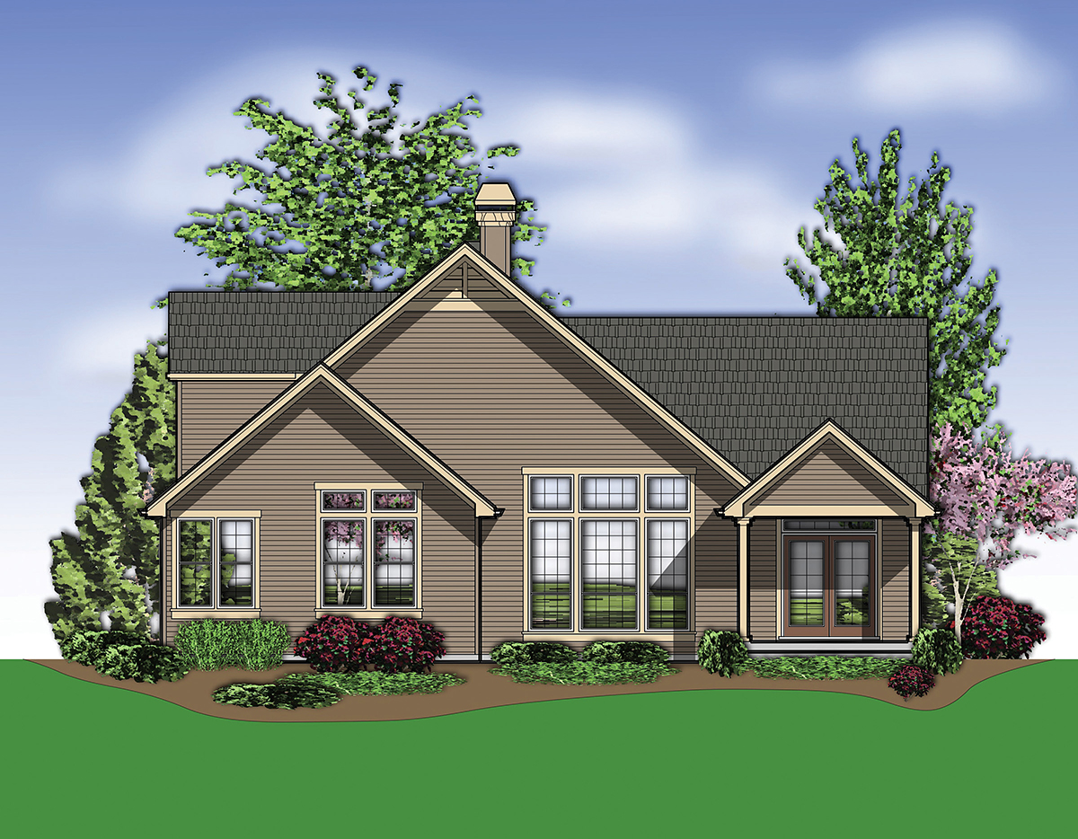 Bungalow House Plan 81300 with 3 Beds, 3 Baths, 3 Car Garage Rear Elevation