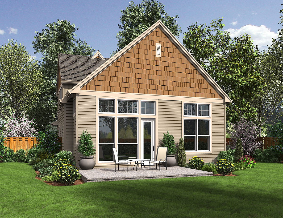 Cottage, Narrow Lot House Plan 81301 with 3 Beds, 3 Baths, 2 Car Garage Rear Elevation