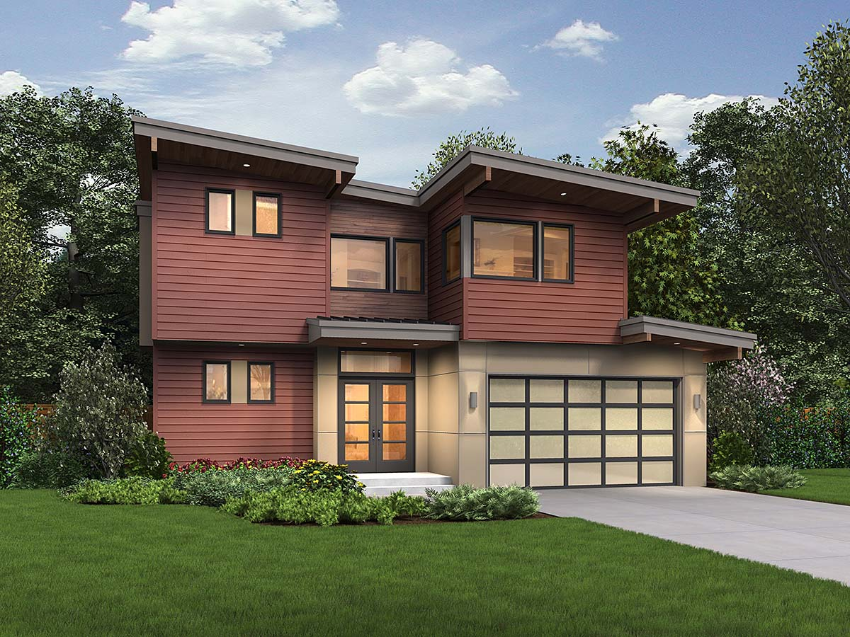 Contemporary, Modern House Plan 81302 with 4 Beds, 4 Baths, 2 Car Garage Elevation