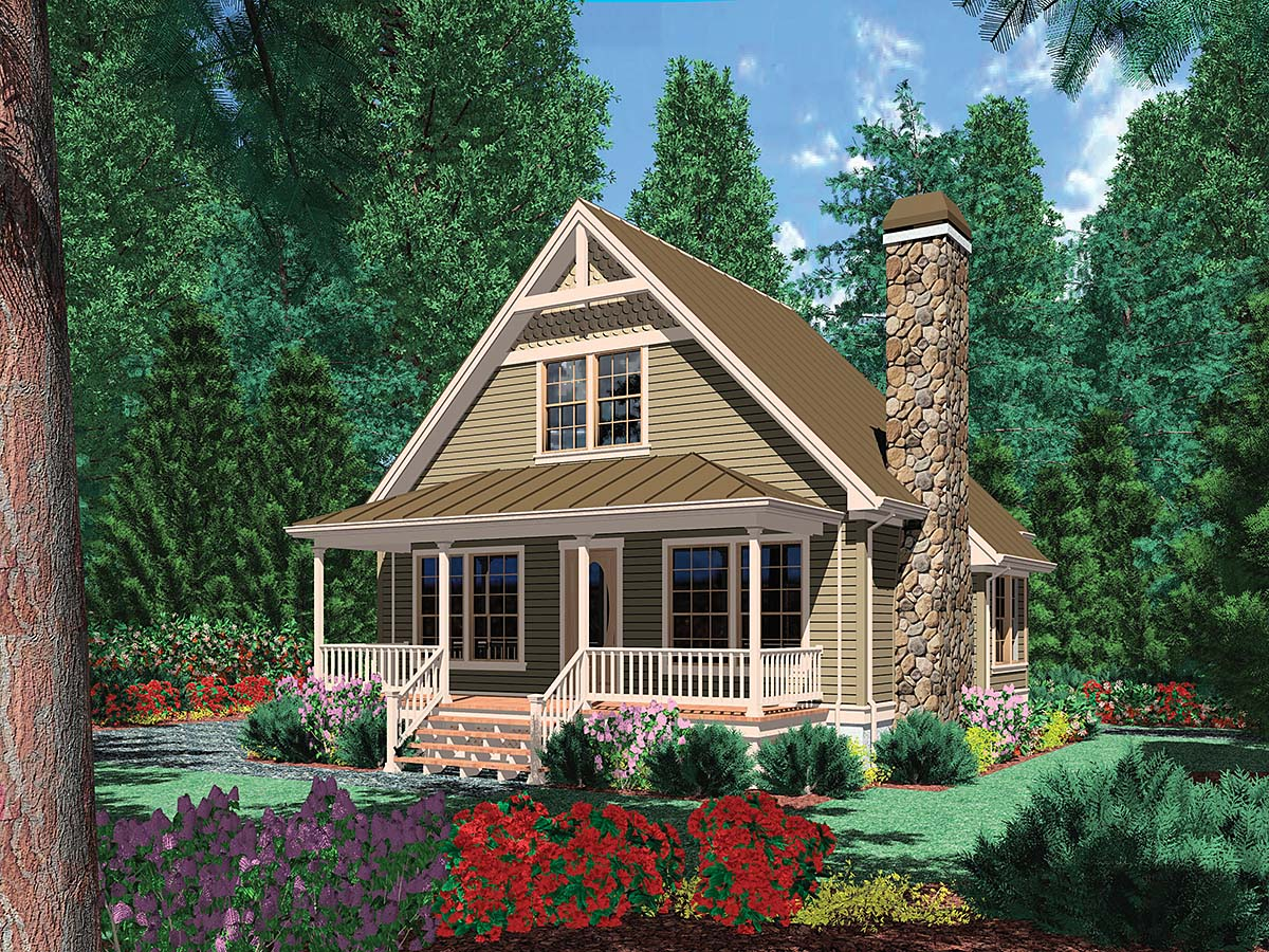 Bungalow, Cabin, Cottage, Country House Plan 81303 with 1 Beds, 1 Baths Elevation