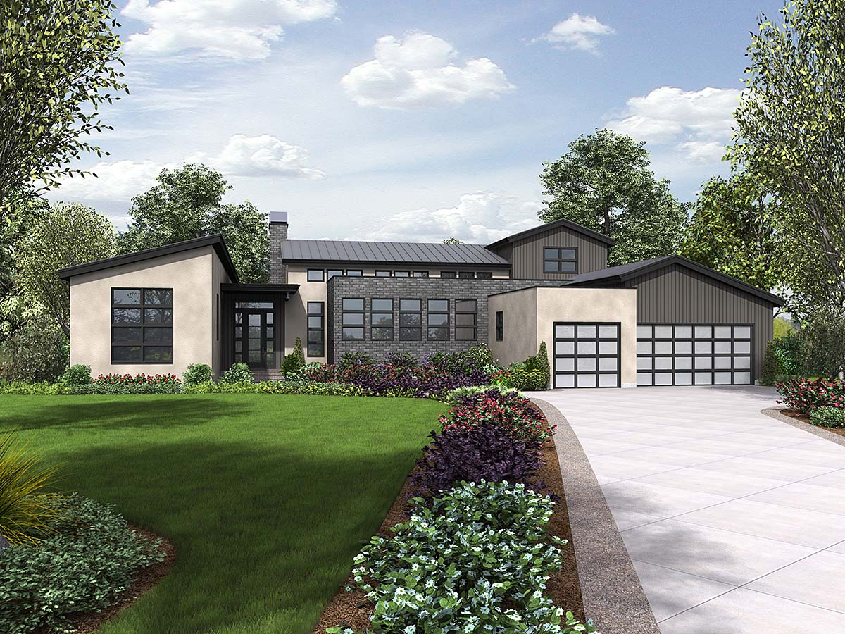 Contemporary, Modern House Plan 81304 with 3 Beds, 3 Baths, 3 Car Garage Elevation
